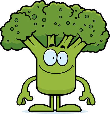 A cartoon illustration of a piece of broccoli looking happy.