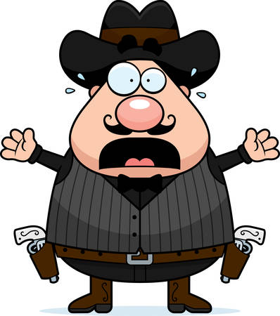 gunfighter: A cartoon illustration of a gunfighter looking scared.