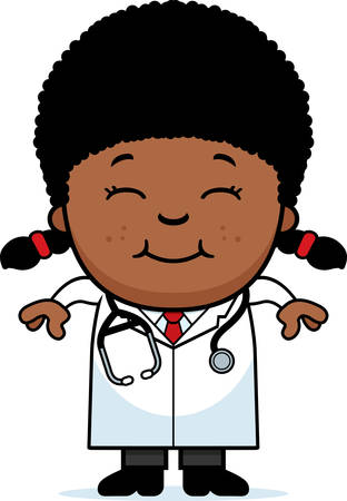 A cartoon illustration of a child doctor smiling.