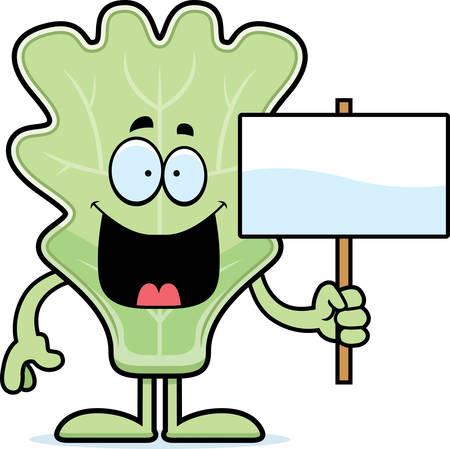 A cartoon illustration of a lettuce leaf holding a sign.