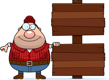 logger: A cartoon illustration of a lumberjack with a wooden sign. Illustration