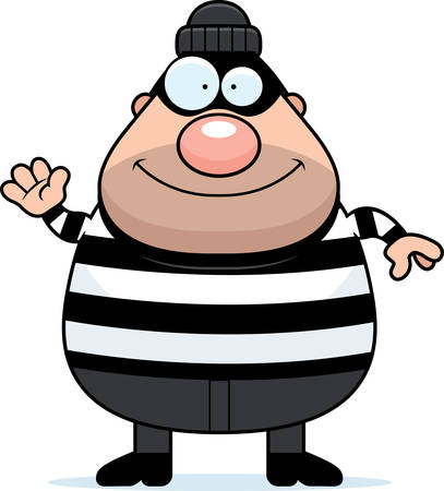 burglar: A cartoon illustration of a burglar waving.