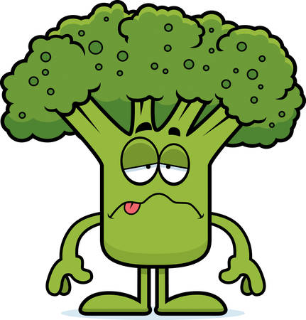 nauseous: A cartoon illustration of a piece of broccoli looking sick.