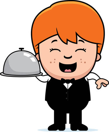 A cartoon illustration of a little waiter with a serving tray.
