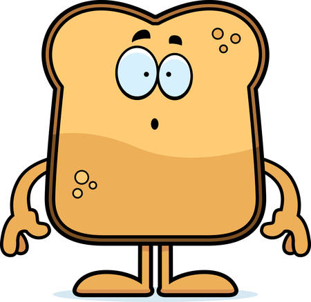 A cartoon illustration of a piece of toast looking surprised.