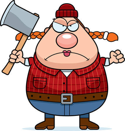 woodsman: A cartoon illustration of a woman lumberjack looking angry. Illustration
