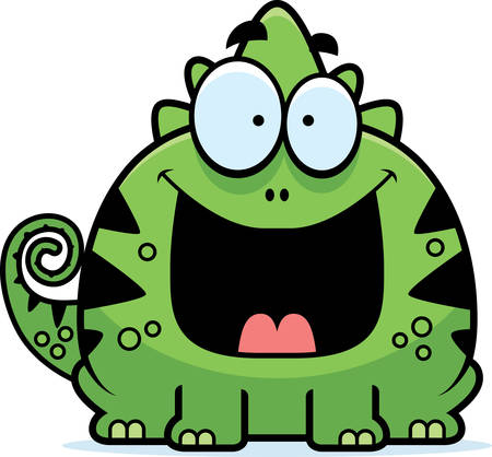A cartoon illustration of a lizard looking happy.