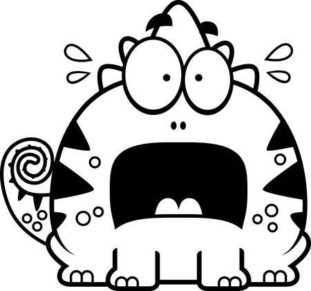 terrified: A cartoon illustration of a lizard looking terrified.