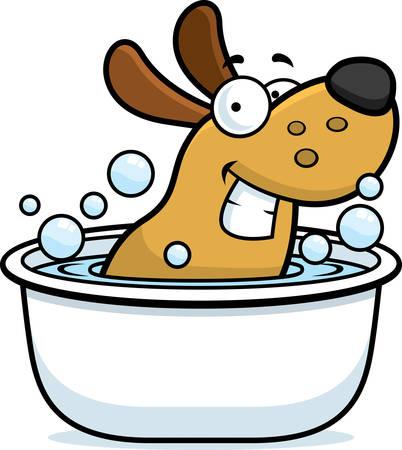 Een cartoon afbeelding van een hond nemen van een bad. Stock Illustratie