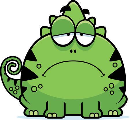 A cartoon illustration of a lizard looking depressed. 向量圖像