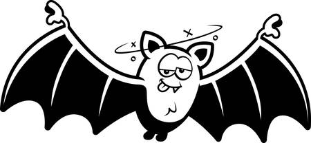 intoxicated: A cartoon illustration of a bat looking drunk.