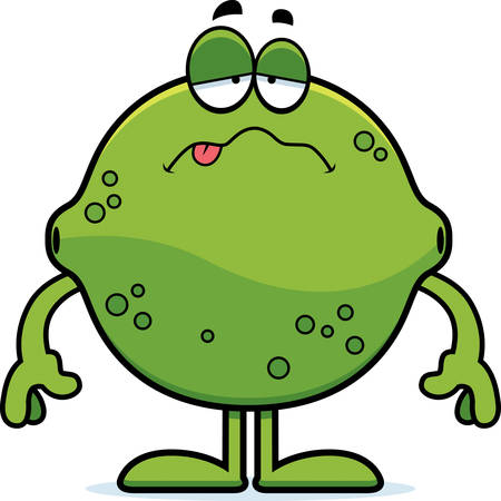 nauseous: A cartoon illustration of a lime looking sick. Illustration