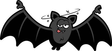 A cartoon illustration of a bat looking drunk.