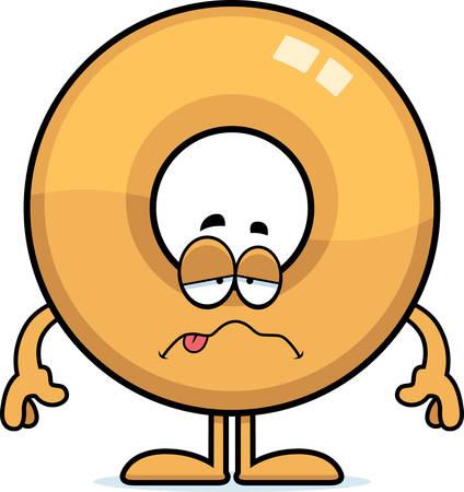 nauseous: A cartoon illustration of a doughnut looking sick. Illustration