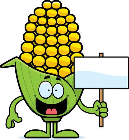 기호를 들고 옥수수의 귀에의 만화 그림.