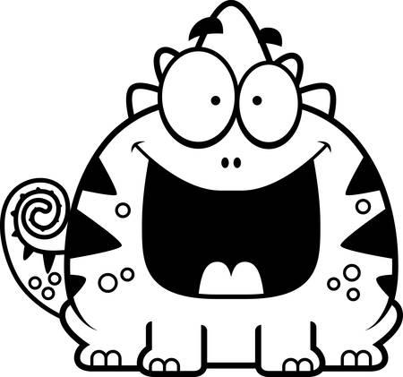 행복한 찾고 도마뱀의 만화 그림.