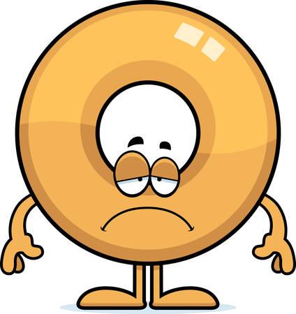 Un fumetto illustrazione di una ciambella col volto triste. Archivio Fotografico - 42955221