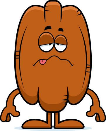 pecan: A cartoon illustration of a pecan looking sick.