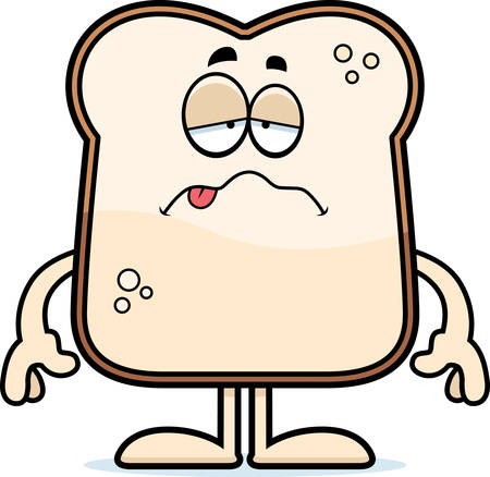 nauseous: A cartoon illustration of a piece of bread looking sick. Illustration