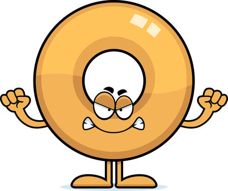 A cartoon illustration of a doughnut looking angry.