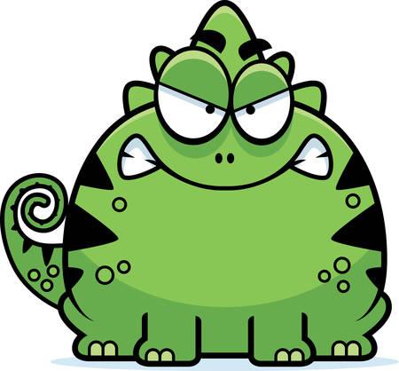 A cartoon illustration of a lizard looking mad.