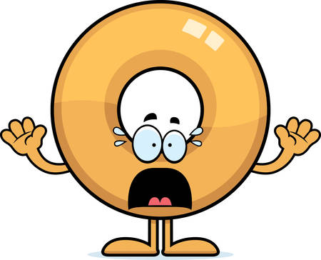 A cartoon illustration of a doughnut looking scared.
