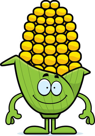 A cartoon illustration of an ear of corn looking happy.