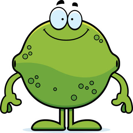 A cartoon illustration of a lime looking happy. Çizim