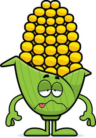 아픈 찾고 옥수수의 귀에의 만화 그림.
