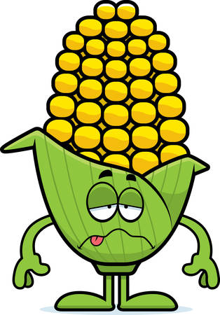 nauseous: A cartoon illustration of an ear of corn looking sick.