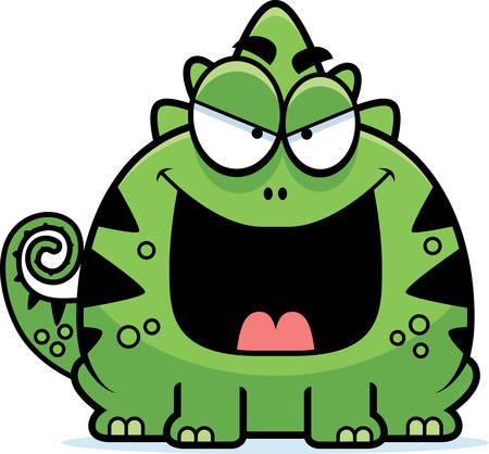 A cartoon illustration of a sinister looking lizard. 向量圖像