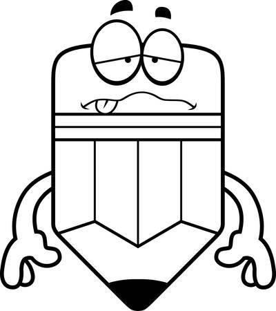 Une illustration de bande dessinée d'un crayon air malade. Banque d'images - 42955362