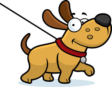dog leash: A cartoon illustration of a dog on a leash going for a walk.
