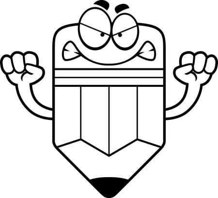 Une illustration de bande dessinée d'un crayon à la recherche en colère. Banque d'images - 42955391