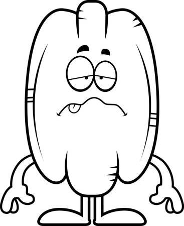 nauseous: A cartoon illustration of a pecan looking sick.