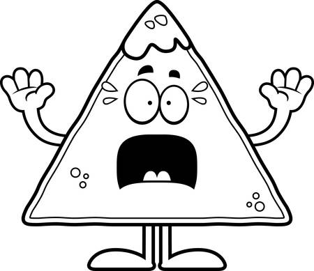 chips and salsa: A cartoon illustration of a tortilla chip with salsa looking scared.