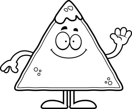chips and salsa: A cartoon illustration of a tortilla chip with salsa waving. Illustration