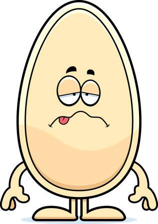 A cartoon illustration of a seed looking sick. Ilustrace
