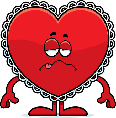nauseous: A cartoon illustration of a Valentine looking sick.