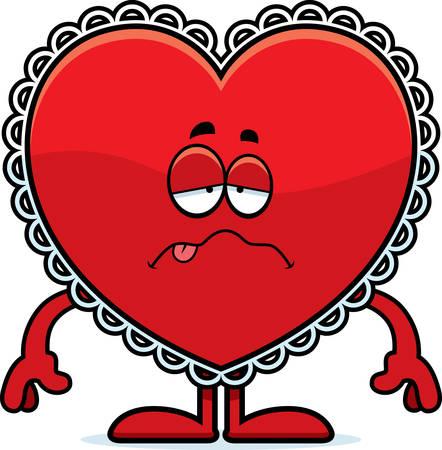 A cartoon illustration of a Valentine looking sick.