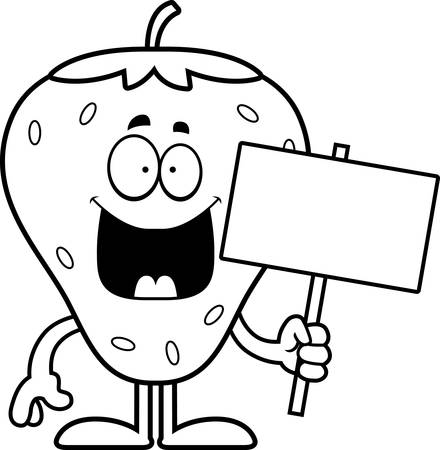 A cartoon illustration of a strawberry holding a sign.