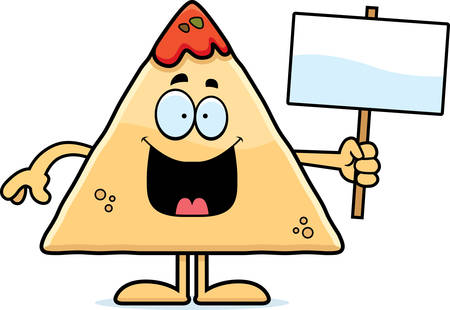 chips and salsa: A cartoon illustration of a tortilla chip with salsa holding a sign. Illustration