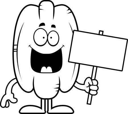pecan: A cartoon illustration of a pecan holding a sign. Illustration