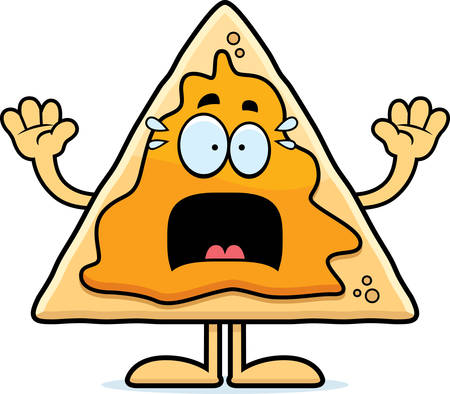 A cartoon illustration of a nacho chip looking scared.