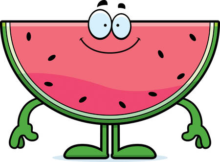 A cartoon illustration of a watermelon looking happy.