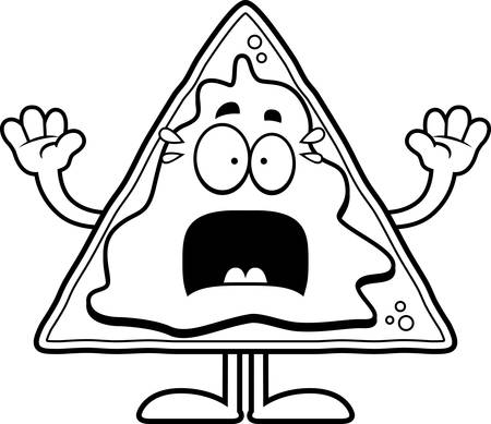 nacho: A cartoon illustration of a nacho chip looking scared.