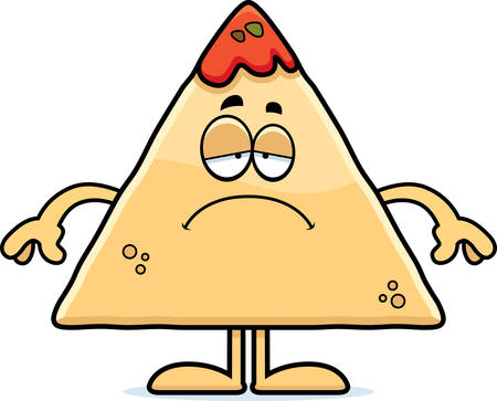 chips and salsa: A cartoon illustration of a tortilla chip with salsa looking sad. Illustration