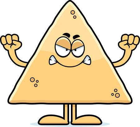 A cartoon illustration of a tortilla chip looking angry.