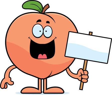 A cartoon illustration of a peach holding a sign.