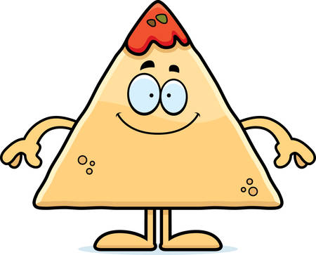 chips and salsa: A cartoon illustration of a tortilla chip with salsa looking happy.